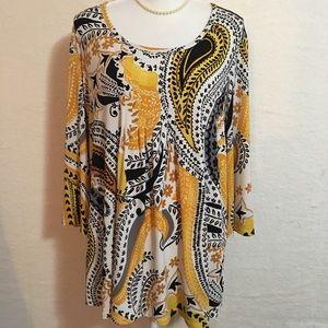Susan Graver liquid knit tunic top, size 1X.